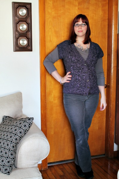 purple sweater on grey outift 1
